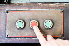 Finger press rustic control panel of old machine,grunge object Royalty Free Stock Photography