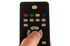 Finger presses on botton remote control Royalty Free Stock Images