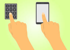 Finger presses the button and the phone. Finger dials the code buttons, clicks on the phone Royalty Free Stock Photos