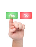 Finger presses button with word yes. Finger presses button with word yes and no Stock Images