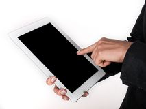 Finger presses on the touch screen. Finger presses on the touch royalty free stock images