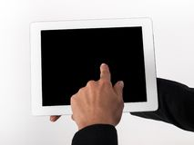 Finger presses on the touch screen. Finger presses on the touch stock photos