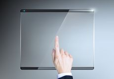 Finger presses on the touch screen Royalty Free Stock Image