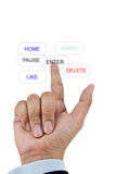 Finger pressing button Royalty Free Stock Photography