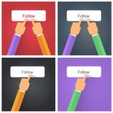 Finger pressing Follow button. Flat style Stock Images