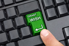 Finger Pressing Grant Wish Key Royalty Free Stock Images
