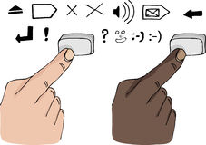 Finger Pressing a Key. Two different skin-color fingers press a blank keyboard button vector illustration