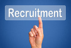 Finger pressing recruitment button Royalty Free Stock Images