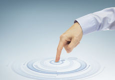 Finger pressing virtual button Stock Image