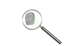 Finger print. Illustration of a finger print in a magnifying glass Royalty Free Stock Image