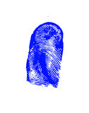 Finger-print. Man, done on the white sheet of paper a blue paint Royalty Free Stock Photos