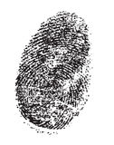 Finger print. A black single thump print isolated on a white background Stock Image
