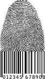 Finger print as barcode. Isolated on white background Stock Images