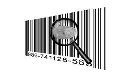 Finger Print Bar code. Under magnifying glass Stock Photo