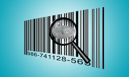 Finger Print Barcode. With Magnifying Glass Stock Photo