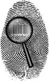 Finger Print Barcode. With magnifying glass. This image created in entirety by me from my own images and is entirely legal for me to sell and distribute Royalty Free Stock Photography