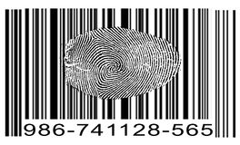 Finger Print Barcode. On White Stock Photography