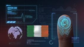 Finger Print Biometric Scanning Identification System. Ireland Nationality stock photo