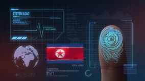Finger Print Biometric Scanning Identification System. North Korea Nationality stock images