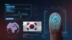 Finger Print Biometric Scanning Identification System. South Korea Nationality.  stock photo