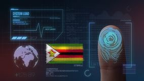 Finger Print Biometric Scanning Identification System. Zimbabwe Nationality royalty free stock photo