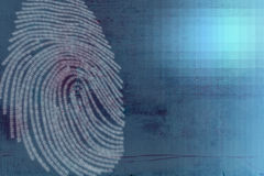 Finger Print Crime technology. Editorial and Abstract piece based around the themes of crime and technology Stock Photos