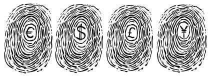 Finger print with currency symbols. A finger print with the symbol of currencies in the middle: euro, dollar, pound and yen. Vector image Stock Photo