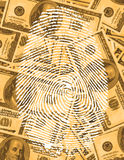 Finger Print and Currency. Finger Print and USA Currency Stock Photo