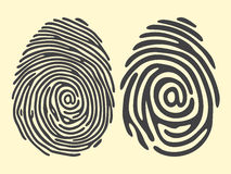 Finger print email. Set of black finger print with email sign. Vector illustration Stock Photos