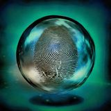 Finger Print. Enclosed in Glass Sphere Royalty Free Stock Photography