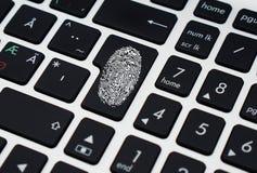 Finger Print on Enter Key of Keyboard Royalty Free Stock Photo