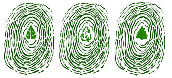 Finger print with environment symbols. A finger print with symbols of environment in the middle: a leaf, recicling arrows and a tree. Vector image Royalty Free Stock Images