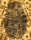 Finger Print. And USA Currency Stock Photos