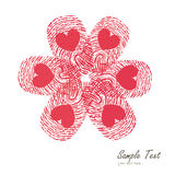 Finger print flower vector with heart symbol vector Royalty Free Stock Photography