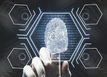 Finger print, future concept. Futuristic fingerprint scanning device biometric security system. Future concept. 3D Rendering Stock Photos