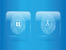Finger print glass. Button log in and log out vector illustration