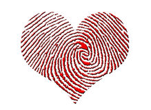 Finger Print Heart. In red Stock Photo