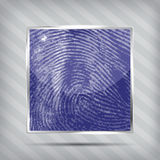 Finger print icon. On the striped background Stock Photo