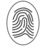 Finger print icon graphic design element. Icon sized graphic with lines reprensenting finger print technology uses Royalty Free Stock Photo