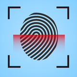 Finger print icon scanning. Finger print  scanning  icon fingerprint symbol  scanner Stock Photo