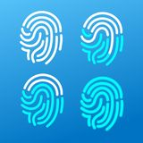 Finger Print Icons Set. Vector. Finger Print Icon Set on a Blue Background Identification Security Concept. Vector illustration of Scanning Human Fingerprint Stock Images