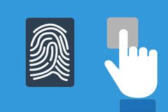 Finger print identification technology concept with device scann. Ing on a modern tablet computer Royalty Free Stock Photos