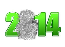 2014 and finger print illustration design. Over a white background Royalty Free Stock Photos