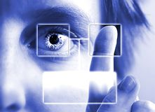 Finger Print Iris Scan. A finger print being compared to an iris scan with empty text box Royalty Free Stock Photo