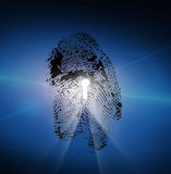 Finger Print with Keyhole Stock Photo