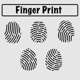 Finger print in line art. Different finger tips, lines, it can be used for criminal cases in police or in technology category Stock Photo