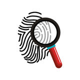 Finger print with magnifying glass. Illustration design Stock Image