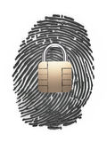 Finger Print on padlock Royalty Free Stock Photo