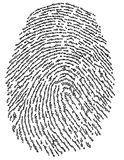 Finger print password. Conceptual image of finger print with binary code of one and zero Royalty Free Stock Photos