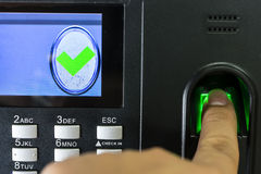 Finger print scan for enter security Stock Images